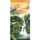 吴东 四尺《流水生财》 著名易经风水画家