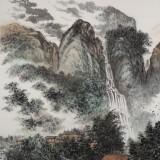 唐圣熙 四尺《奇峰秀美有人家》湖南著名山水老画家