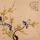 【已售】皇甫小喜 四尺斗方《梅林双栖》 河南著名花鸟画家