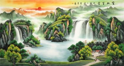 【已售】吴东 六尺《宝地生金》 著名易经风水画家