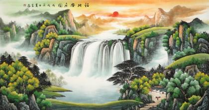 吴东 六尺《福地安居图》 著名易经风水画家