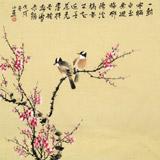 皇甫小喜 四尺斗方《梅中双雀》 河南著名花鸟画家