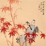 皇甫小喜 四尺斗方《竹影半墙入画》 河南著名花鸟画家