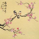 皇甫小喜 四尺斗方《梅雀闹春》 河南著名花鸟画家