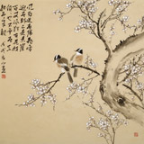 【已售】皇甫小喜 四尺斗方《寒梅映雪》 河南著名花鸟画家