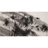 陈丹晖 四尺精品《雨中听竹知秋意》 江苏省美协会员 清华美院助教