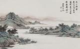 【已售】吴显刚 四尺对开《溪山渔归》 贵州七星关美协主席