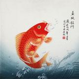 凌雪 四尺斗方《鱼跃龙门》 北京美协会员