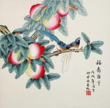 凌雪 三尺斗方《福寿康宁》 北京美协会员