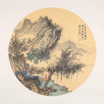 吴显刚 卡纸团扇《溪山论道》 贵州七星关美协主席