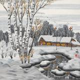 【已售】何一鸣 三尺斗方《塞北雪乡》 冰雪画派画家 师从于志学