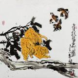 王永刚 指墨作品《雀跃福寿图》 国家一级美术师