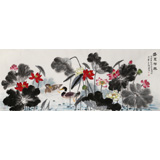 朱祖义 小六尺荷花《盛夏荷风》 中国老子书画院副院长