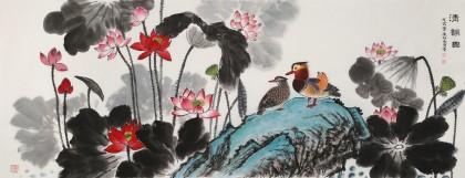 朱祖义 小六尺荷花《清韵图》 中国老子书画院副院长