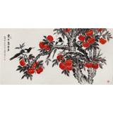 朱祖义 四尺吉祥柿子《丰年喜事多》 中国老子书画院副院长