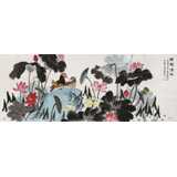 朱祖义 小六尺荷花《荷韵清趣》 中国老子书画院副院长