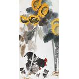 刘纪 四尺《向阳和谐图》 河南著名老画家