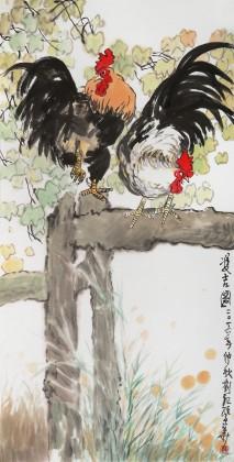 刘纪 四尺《双吉图》 河南著名老画家