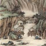 吴显刚 四尺《溪山水阁图》 贵州七星关美协主席