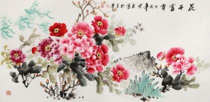 【已售】王宝钦 四尺《花开富贵》当代花鸟牡丹画名家(询价)
