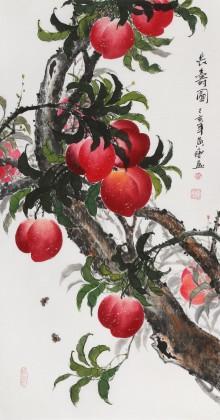 黄艺三尺风水吉利国画《长寿图》