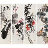【已售】王宝钦 四条屏《花鸟四季》 当代花鸟牡丹画名家(询价)