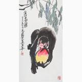 王永刚 三尺《得寿图》 78岁国家一级美术师