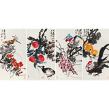 邢书波 四条屏《福寿图》 中美协会员 清华美院创作班导师
