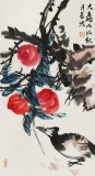 邢书波 四条屏《福寿图》 荣宝斋画院画家 清华美院创作班导师