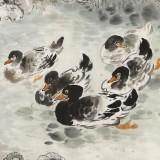 王宝钦六尺《荷塘初雪》当代花鸟牡丹画名家(询价)