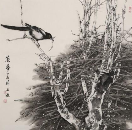 陈薪名《筑梦》代表作精品 第六届全国花鸟画展金奖获得者 已裱轴 出版物原作