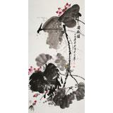 王宝钦 四尺《荷趣图》当代花鸟牡丹画名家(询价)