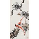 梁景欣 三尺《双寿图》 学院派画家