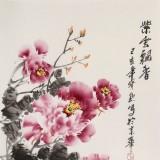 王宝钦 三尺《紫云飘香》当代花鸟牡丹画名家(询价)
