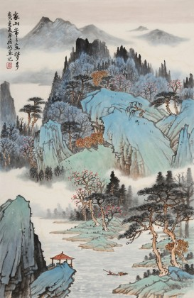 廖崧越 四尺三开《家山常常入梦乡》 广西桂林美协会员