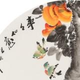 王宝钦 四尺团扇柿子《事事如意》当代花鸟牡丹画名家(询价)