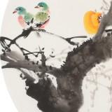 王宝钦 四尺团扇柿子《万事如意》当代花鸟牡丹画名家(询价)