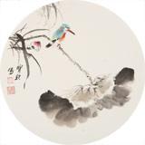 王宝钦 三尺团扇荷花《荷香图》当代花鸟牡丹画名家(询价)
