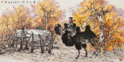 杨永家 《漠上金秋》中美协会员 中国大漠画派领军人物 有合影