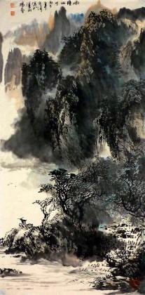 杨春 四尺《雨中山川》老一辈广西著名山水画家