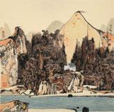 张勇 四尺斗方《秋山隐逸图》 吉林著名山水画家