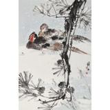 【已售】陈薪名《松雪锦鸡图》 第六届全国花鸟画展金奖获得者