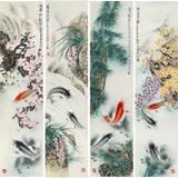 南海禅寺 妙林居士 四条屏《四季锦鲤图》
