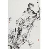 【已售】陈薪名《松林野趣》 第六届全国花鸟画展金奖获得者