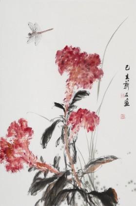 【已售】陈薪名《鸿运当头》 第六届全国花鸟画展金奖获得者