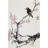 陈薪名《鸣春》 中美协会员 第六届全国花鸟画展金奖获得者