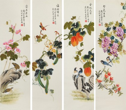 【已售】北京美协 凌雪四条屏《紫气东来》