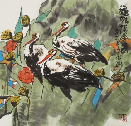 王永刚 三尺斗方《荷塘栖禽图》 78岁国家一级美术师