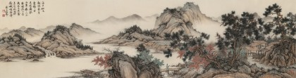 吴显刚六尺对开《落日松风图》贵州七星关美协主席
