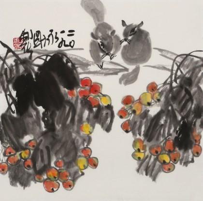 王永刚 斗方小品《硕果累累》 78岁国家一级美术师